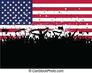 Party crowd on an American flag background - Silhouette of a...