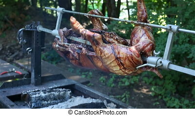 Pig roasted on barbecue fire 2 - Pig roasted on barbecue...