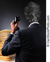 Stressed Businessman Head Explodes - A stressed businessman...