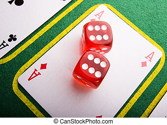 Dice on cards - Casino - a place where you can win or lose...