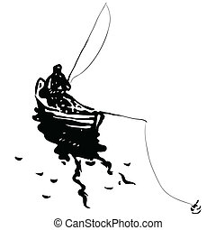 Fisherman in a boat - A fisherman in a boat with fishing...