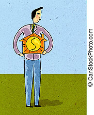 A man holding a small house with dollar sign