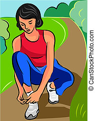 A woman tying her shoelace before running on a pathway