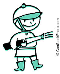 A cartoon style drawing of a fireman