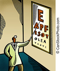 Optometrist pointing at an eye chart