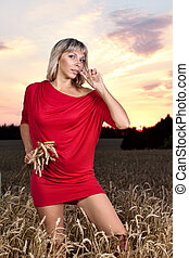 Romantic sexy woman in wheat field - Photo of romantic sexy...