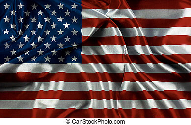American flag with folds and creases