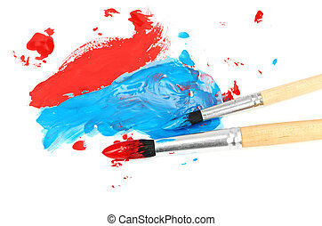brush and paint scratch isolated on a white background