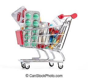 shopping, bonde, pílulas, medicina