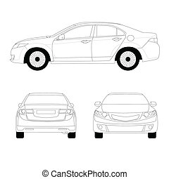 Large sport sedan line art vector illustration