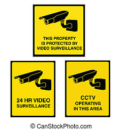 Video surveillance camera sign black and yellow - Video...