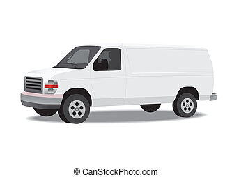 Delivery van isolated on white Vector illustration