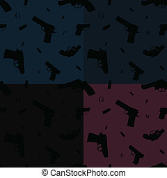 Seamless pattern hand guns four colors