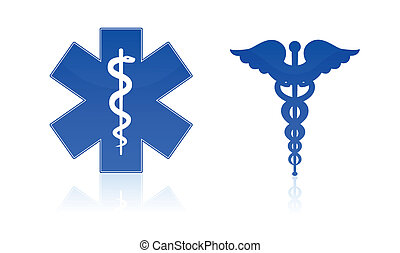 Medical symbols - star and caduceus, isolated on white...