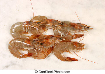 Crevettes on a marble slab