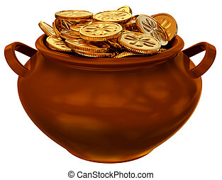 pan with coins of leprechaun - pan with coins as a symbol of...