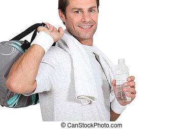 Man with gym bag