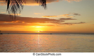Manihi - Magnificent Sunset over Manihi Lagoon in French...
