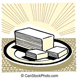 An illustration of a slab of cut butter