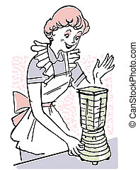 A vintage illustration of a woman using a blender
