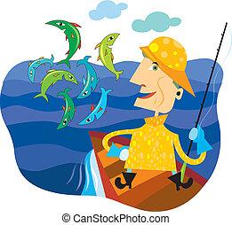 Um, pescador, ficar, bote, olhar, peixe, Pular,...