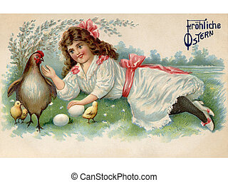 A vintage Easter postcard of a girl with a hen, chicks and...