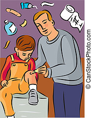 Man putting cream on child's knee injury, with first aid...
