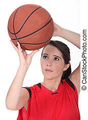 niña, lanzamiento, baloncesto