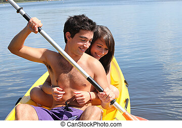 Young couple kayaking