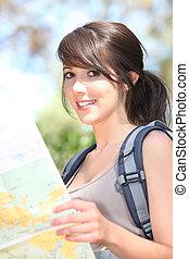 Girl orienteering