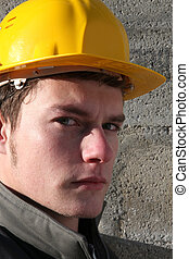 Serious looking laborer