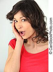 joyful and surprised teenage girl