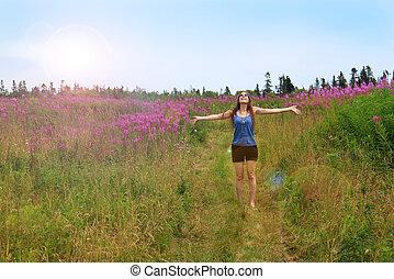 Hippie girl in field