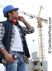 cran, construção, local