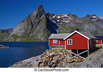 Rorbu hut on Lofoten - Typical red rorbu fishing hut by the...