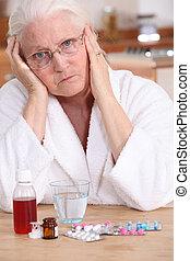 malhumorado, mujer, toma, ella, medicación