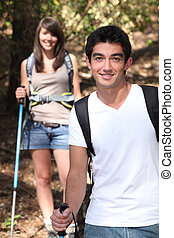 Young couple hiking