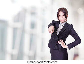 business woman finger pointing at viewer
