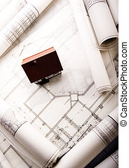 House blueprints close up - Architecture is the art and...
