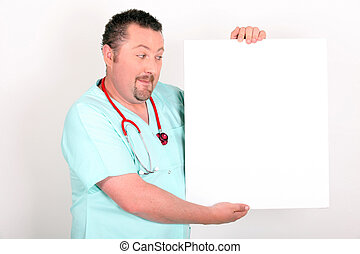 Doctor holding a blank sign