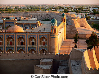Khiva at sunset - Khiva town at sunset. Uzbekistan