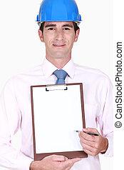 Inspector holding clip-board