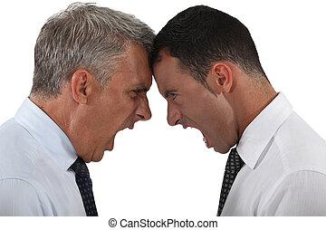 dois, Homens negócios, tendo, argumento