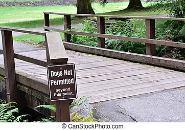 Dogs not permitted sign in golden ears lake