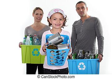 família, reciclagem