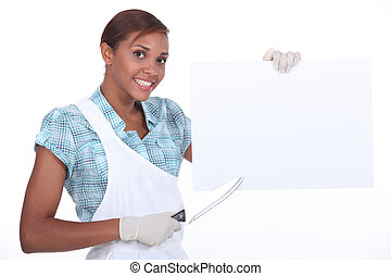 Cook pointing poster with knife