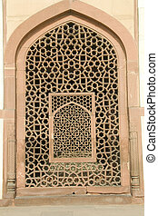Stone Window Grill Work - Intricate carving of stone window...