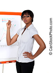 Afro-American businesswoman making a presentation