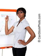 femme affaires, Afro-américain,  présentation, confection