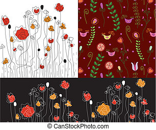 Set of banners with poppy patterns